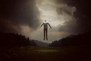 Man leaving Earth